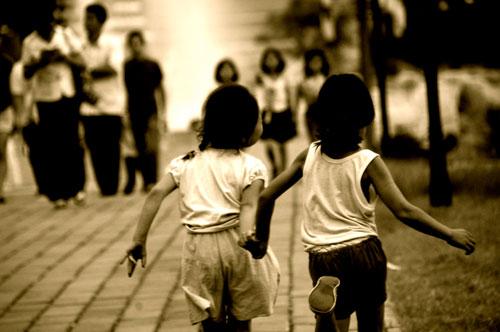 north korean girls. Two North Korean girls run